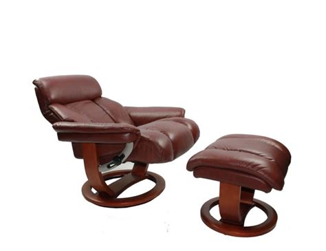 chestnut genuine leather swivel chair and foot stool