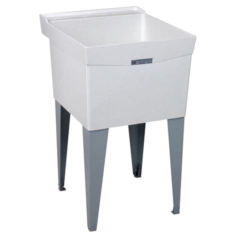mustee utilatub 20 in x 24 in fiberglass floor mount laundry utility tub 18f the home depot