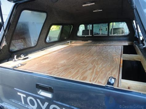 camper truck camping setup build platform bed pickup ultimate side access living table under sleeping canopy brackets step open tailgate