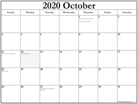 collection october calendars holidays