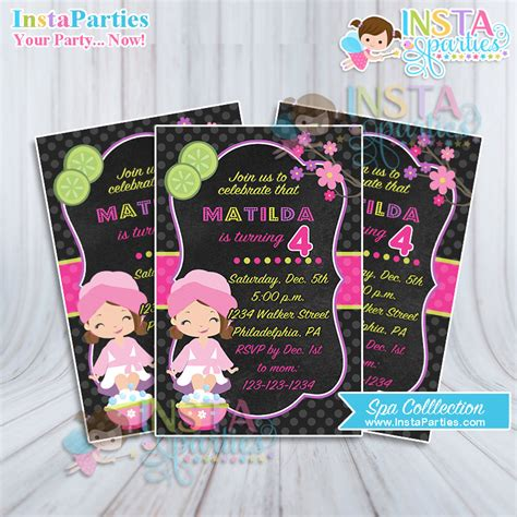 spa party invitation invites african american  girl