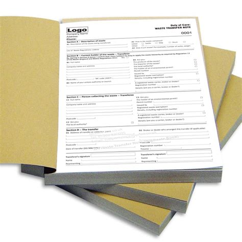 waste transfer note pad printing personalised duplicate pads