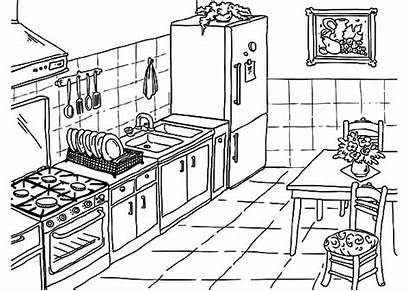 Kitchen Coloring Drawing Pages Cooking Table Drawings
