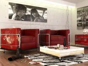 red black white contemporary living room interior design