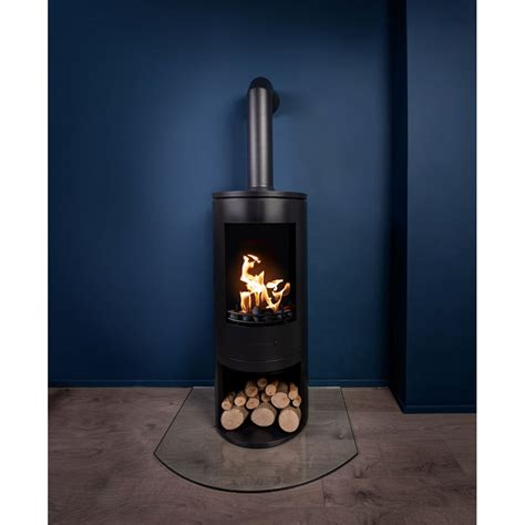 black modern cylinder bioethanol stove