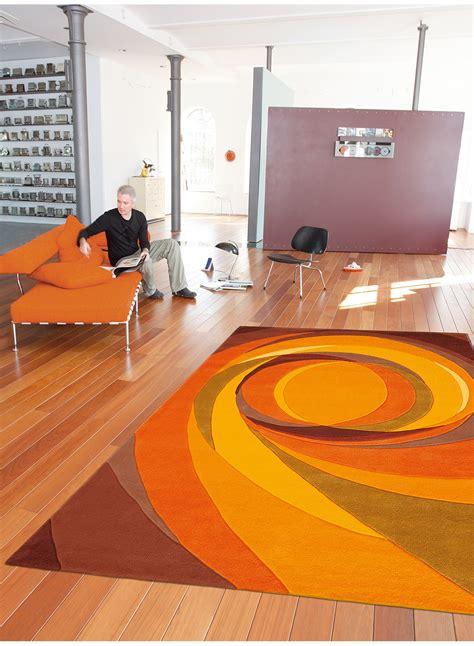tapis de salon moderne set highlights orange de la