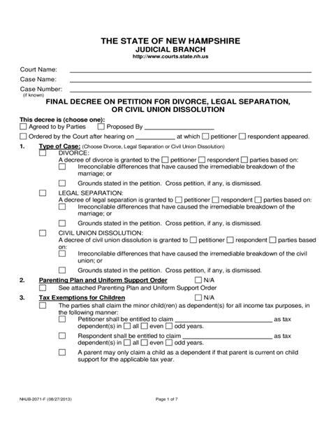 final decree  petition  divorce  hampshire