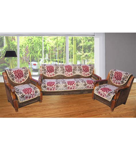 Cover Of Sofa Set by Jbg Home Store Lotus Design Multicoloured Sofa Cover Set