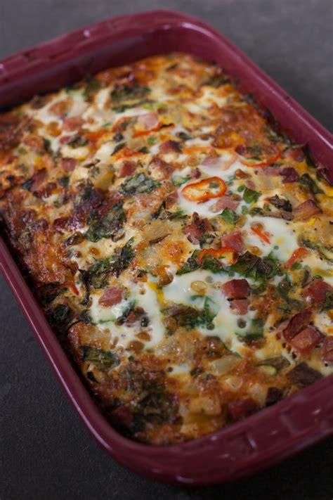 breakfast cassarole recipes easy overnight ham and veggie breakfast casserole recipe