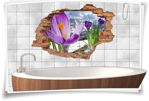 Fliesenaufkleber Natur by Fliesenaufkleber Wanddurchbruch Natur Berge Blumen