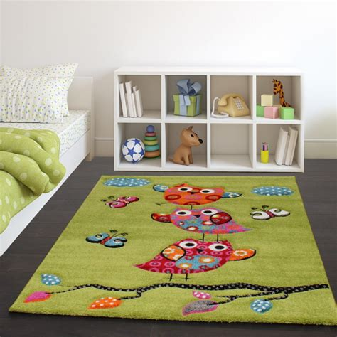 tappeti per bambini tappeto per bambini gufetti verde tapetto24