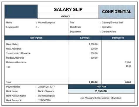 sample salary slip format  excel word template excel