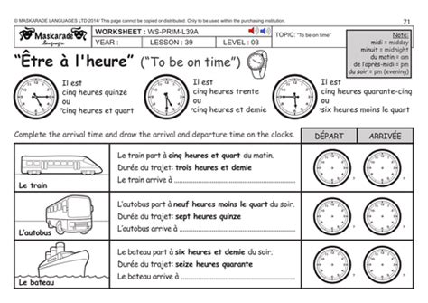 french ks2 level 3 ks3 year 7 being on time