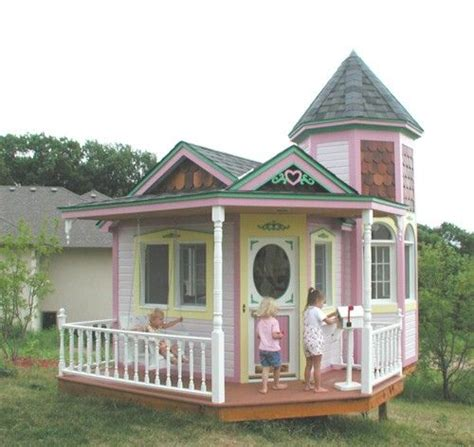 Wooden dollhouses, fairy houses and wooden treehouse toys from bella luna toys. pink-playhouse | Play houses, Build a playhouse, Playhouse plans