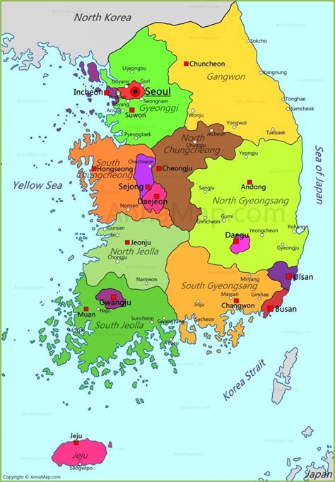 south korea states map map  south korea states