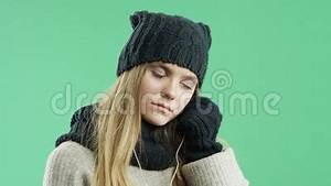 Sad Girl Listening To Music On Headphones Winter In The ...