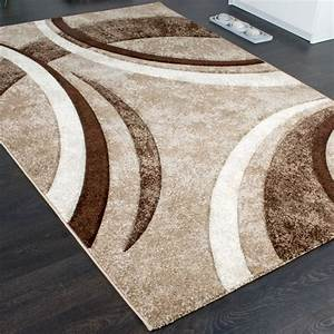 designer teppich braun beige creme meliert design teppiche With balkon teppich mit tapete beige gestreift