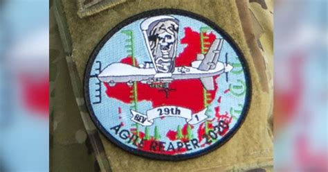 Air Force Patch Depicting Mq 9 Reaper Drone Over China