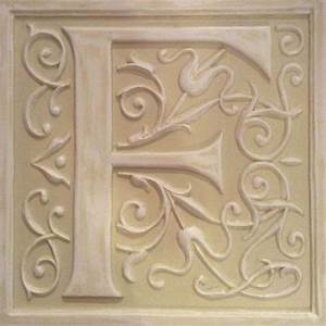 Letter plaque f distressed pale olive by marie ricci for Letter plaques