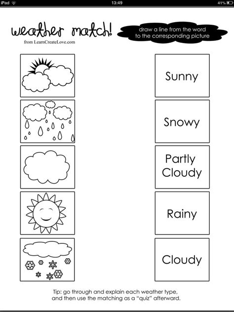 weather word and picture match pre school pinterest