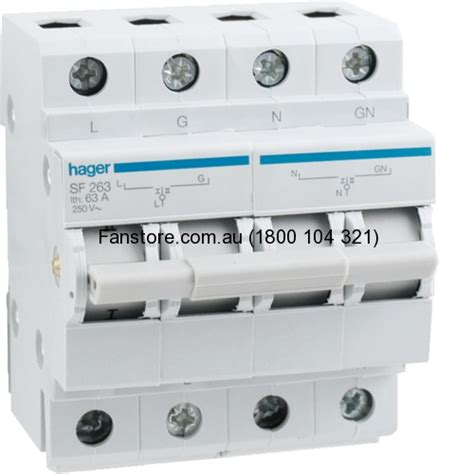 electrical circuit protection hager sf263 changeover switch 2 pole 63 240v 50hz din