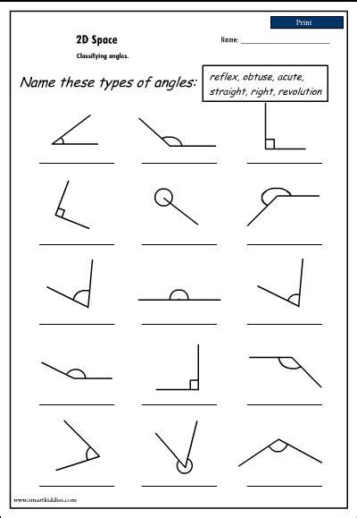 Naming Angles Worksheets