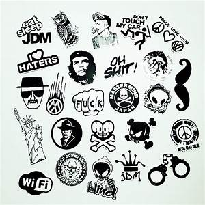 50 PCS Black and White Cool DIY Stickers For Skateboard