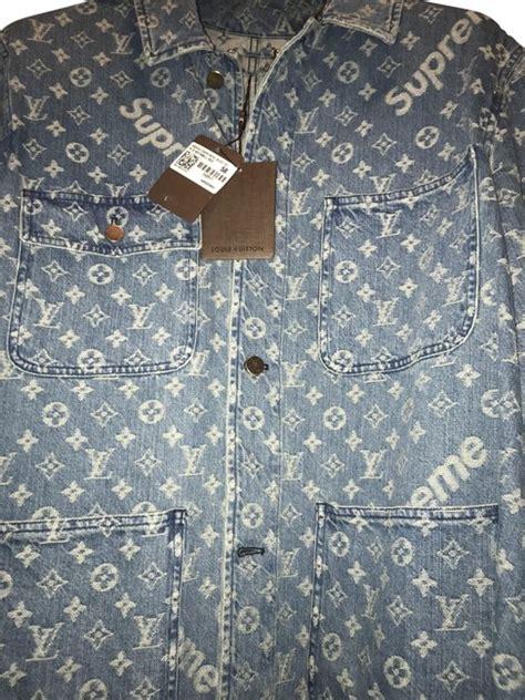 louis vuitton  supreme blue washed jacket size
