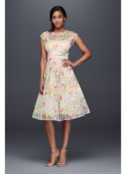 Embroidered Organza Fit And Midi Dress Davids Bridal