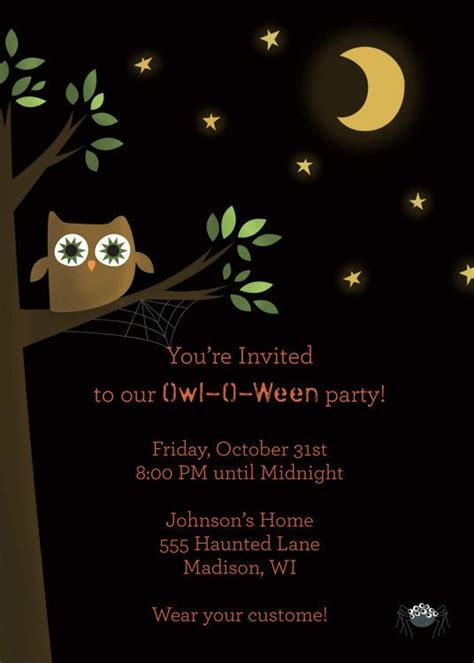 night owl halloween party invitations printable
