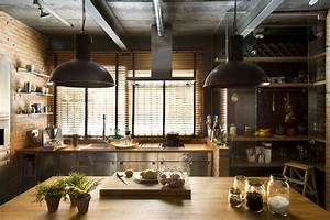 Industrial home with interior planting and transparent walls for Industrial home kitchen design