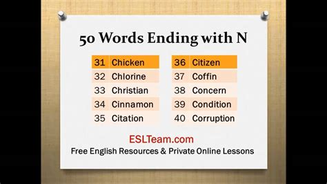N Words List  Ending With The Letter N Pronunciation