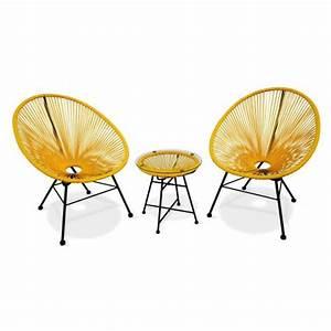 Fauteuil Acapulco Jaune : ensemble de 2 fauteuils acapulco chaise oeuf design r tro avec table d 39 appoint cordage jaune ~ Teatrodelosmanantiales.com Idées de Décoration