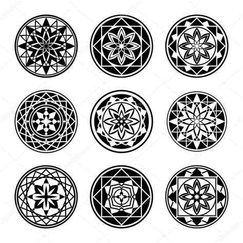 elements mandala icone de tatouage set star ornement