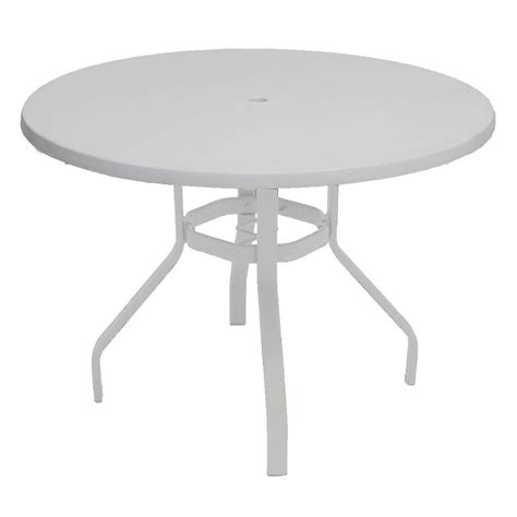 white round outdoor table marco island 42 in white round commercial fiberglass