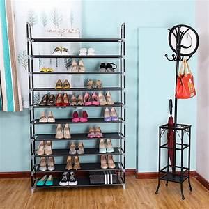 Zimtown, 10-tier, Shoe, Rack, Non, Woven, Fabric, And, Steel, Black, -, Walmart, Com