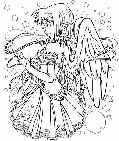 Coloring Pages Fairies Gothic Anime Fairy Sheets