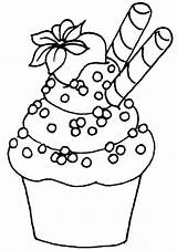 Cupcake Coloring Cupcakes Pages Easy Print Tulamama sketch template