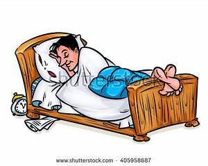 Man Asleep Bed Illustration Cartoon Image Stock ...