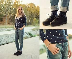 Emma Istvanffy - Hu0026M Cardigan Zara Boyfriend Jeans Springfield Shirt Vagabond Creepers ...