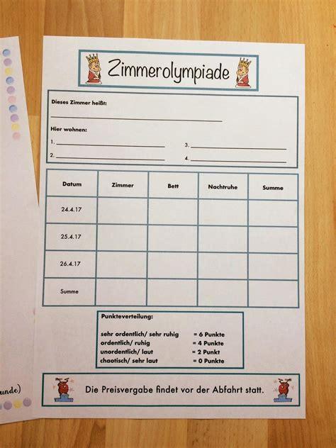 klassenfahrt   liste und zimmerolympiade school