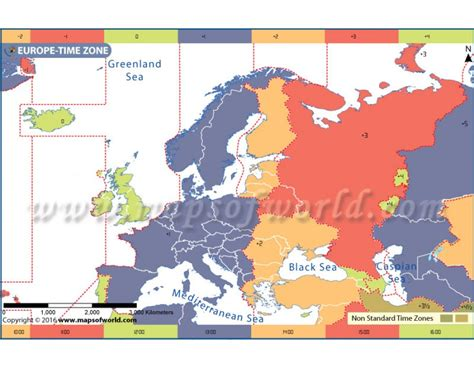 buy europe time zone map