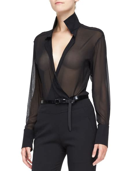 collar blouse lyst donna karan sheer sleeve blouse with collar in