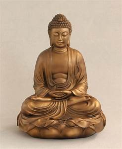 Buddha on Lotus Statue in Bronze, 12 Inches