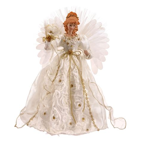 Christmas Tree Toppers Angels by 18 Inch White And Gold Angel Christmas Tree Topper Fiber