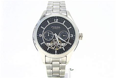 fossil  automatic black dial skeleton mens