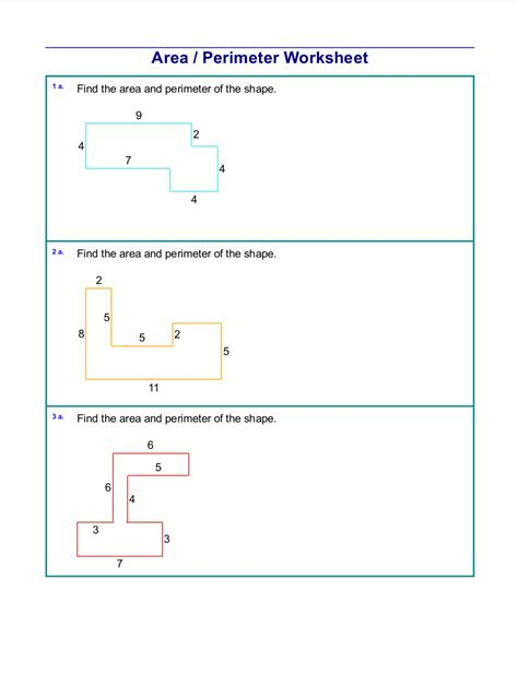 perimeter and area of irregular shapes worksheet free
