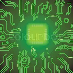 Circuit board green vector background. motherboard ...