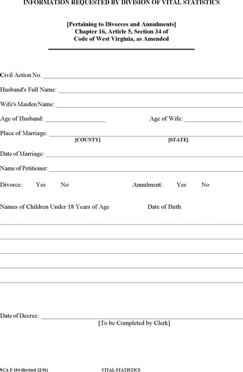 vital statistics form for divorce 11 west virginia divorce papers free download