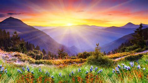 早晨的阳光山间风景桌面壁纸高清大图预览1920x1080_风景壁纸下载_彼岸桌面